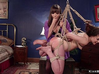 Hung dark hair gets spanked lezdom