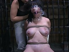 Concupiscent dominatrix won't stop punishing her slave