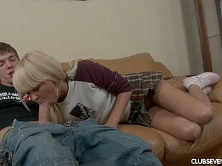 Lovely blonde cute teen on the couch boned in the tight shaved pussy