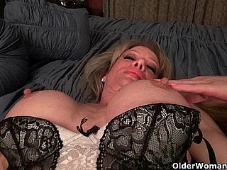 Milf Raquel's big clit is poking out