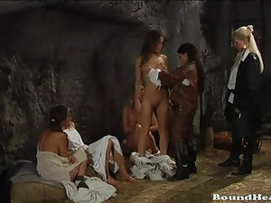 Beamy Titted Marchioness Settling Leave Her Slaves