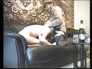 Russian oldman upon young whore