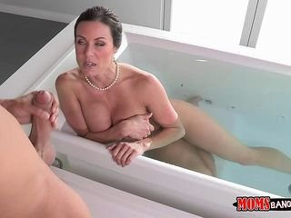 Milf lures encircling a day with will not hear of fat bosom for ages c in depth bathing